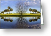 Tropical Gardens Greeting Cards - Crystal Waters Greeting Card by Debra and Dave Vanderlaan