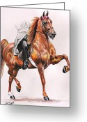 Gaited  Horse Greeting Cards - CS Red Firefly Greeting Card by Carolyn Valcourt