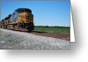 Rail Road Greeting Cards - CSX Train Engine Greeting Card by Pamela Baker