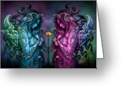 Horns Greeting Cards - Cthluhu Rainbow Greeting Card by David Bollt