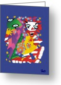Ronald Greeting Cards - Cthulhu and Ronald MacDonald Playing Dice with the Universe Greeting Card by Pet Serrano