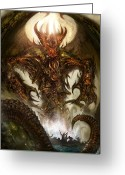 Monster Digital Art Greeting Cards - Cthulhu Rising Greeting Card by Alex Ruiz