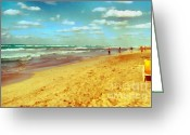 Gold Lame Painting Greeting Cards - Cuba beach Greeting Card by Odon Czintos