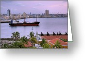 Discovery Channel Greeting Cards - Cuba. Cargo ship leaving Havana Bay. Greeting Card by Juan Carlos Ferro Duque