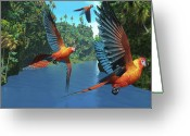 Vertebrate Greeting Cards - Cuban Red Macaw 2 Greeting Card by Corey Ford