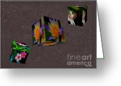 Hawaiian Pond Greeting Cards - Cubed Floral Greeting Card by Cheryl Young
