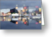City Illusion Greeting Cards - Cubic City Reflections Greeting Card by Anthony Ross