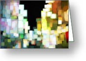 City Illusion Greeting Cards - Cubic Night 3 Greeting Card by Anthony Ross