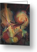 Musical Art Greeting Cards - Cubist Play - Abstract Cello Greeting Card by Susanne Clark