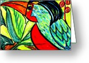 Vibrant Pastels Greeting Cards - Cuchu Cachu Greeting Card by Linda Hubbard Red Cap Art