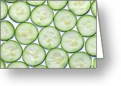 Directly Above Greeting Cards - Cucumber Clices Greeting Card by Photo by Leonardo Martins