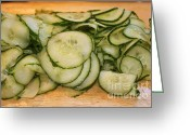 Green. Organic Greeting Cards - Cucumbers Greeting Card by Henrik Lehnerer