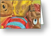 Toys Pastels Greeting Cards - Cuddly Companions Greeting Card by Natalie McKenzie