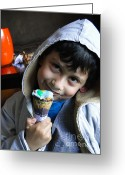 Children Ice Cream Greeting Cards - Cuenca Kids 178 Greeting Card by Al Bourassa