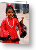Earrings Photo Greeting Cards - Cuenca Kids 209 Greeting Card by Al Bourassa