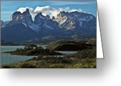 Snow On Field Greeting Cards - Cuernos Del Paine, Paine Horns Greeting Card by Jason Edwards