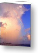 Rain Cloud Greeting Cards - Culebra Rain Cloud and Rainbow Greeting Card by Thomas R Fletcher