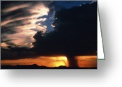 Rain Cloud Greeting Cards - Cumulonimbus Storm Near Phoenix, Usa At Sunset Greeting Card by Keith Kent