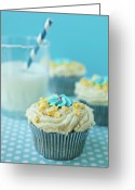 Indoors Greeting Cards - Cup Cake With Stars Topping Greeting Card by Uccia_photography