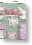 Chic Painting Greeting Cards - Cup Cakes and Roses Greeting Card by Gail McCormack