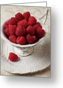Dessert Greeting Cards - Cup full of raspberries  Greeting Card by Garry Gay