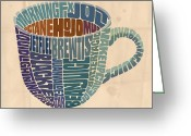 Viennese Greeting Cards - Cup o Joe Greeting Card by Mitch Frey