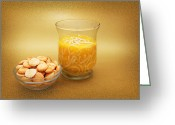 Clear Glass Greeting Cards - Cup O Soup And Oyster Crackers Greeting Card by Andee Photography