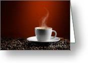 Mocha Greeting Cards - Cup of Coffe Latte on Coffee Beans Greeting Card by Oleksiy Maksymenko