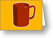 Stencil Greeting Cards - Cup of Coffee Graphic Image Greeting Card by Pixel Chimp