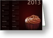 Calendar Greeting Cards - Cupcake calendar 2013 Greeting Card by Jane Rix