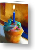 Cake Greeting Cards - Cupcake With Candle Greeting Card by Jai Johnson
