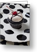 Sweet Spot Greeting Cards - Cupcake with cherry Greeting Card by Garry Gay