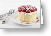 Whipped Topping Greeting Cards - Cupcake with rasberries and cream Greeting Card by Sandra Cunningham