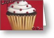 Folk Art Greeting Cards - Cupcakes 25 cents Greeting Card by Catherine Holman