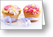 Ribbon Greeting Cards - Cupcakes Greeting Card by Elena Elisseeva