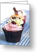 Calories Greeting Cards - Cupcakes on tablecloth Greeting Card by Jane Rix