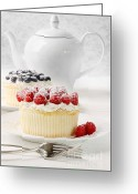 Whipped Topping Greeting Cards - Cupcakes with rasberries and cream on table Greeting Card by Sandra Cunningham
