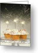 Delicious Greeting Cards - Cupcakes with sparklers Greeting Card by Sandra Cunningham