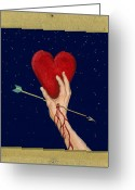 Archer Greeting Cards - Cupids Arrow Greeting Card by Charles Harden