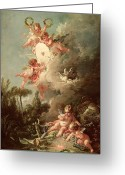 Cherubs Greeting Cards - Cupids Target Greeting Card by Francois Boucher