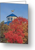Weathervane Greeting Cards - Cupola Coolidge Park Carousel Greeting Card by Tom and Pat Cory