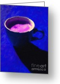 Latte Digital Art Greeting Cards - Cuppa Joe - Blue Greeting Card by Wingsdomain Art and Photography