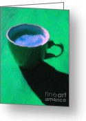 Latte Digital Art Greeting Cards - Cuppa Joe - Green Greeting Card by Wingsdomain Art and Photography
