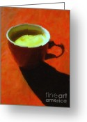 Latte Digital Art Greeting Cards - Cuppa Joe - Orange Greeting Card by Wingsdomain Art and Photography
