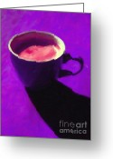 Latte Digital Art Greeting Cards - Cuppa Joe - Purple Greeting Card by Wingsdomain Art and Photography
