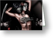 Black And White Greeting Cards - Cure my Tragedy Greeting Card by Pete Tapang