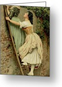 Peering Greeting Cards - Curiosity Greeting Card by Eugen Von Blaas