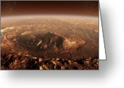 Barren Land Greeting Cards - Curiosity Rover Descending Into Gale Greeting Card by Steven Hobbs