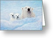 Bears Painting Greeting Cards - Curiosity Greeting Card by Sandy Moser