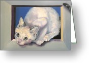 Kitten Greeting Card Greeting Cards - Curiosity Greeting Card by Susan A Becker